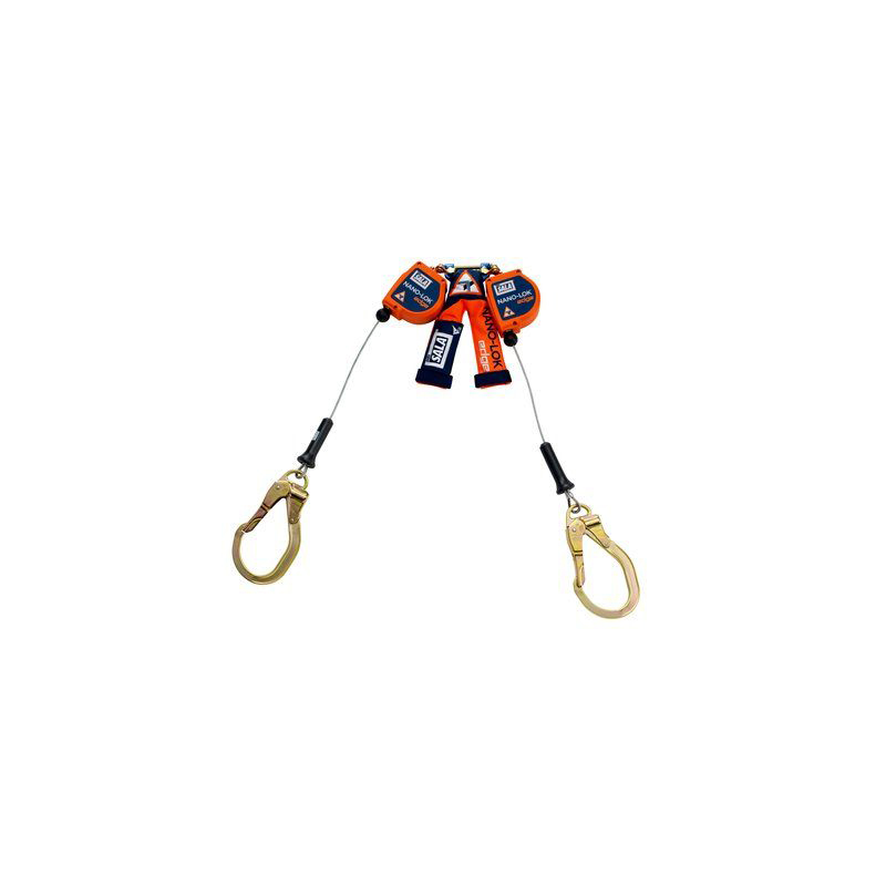 3M™ DBI-SALA® Nano-Lok™ edge Twin-Leg Quick Connect Self Retracting Lifeline - Cable 3500227, Orange, 8 ft. (2.4 m), 1 EA/Case image
