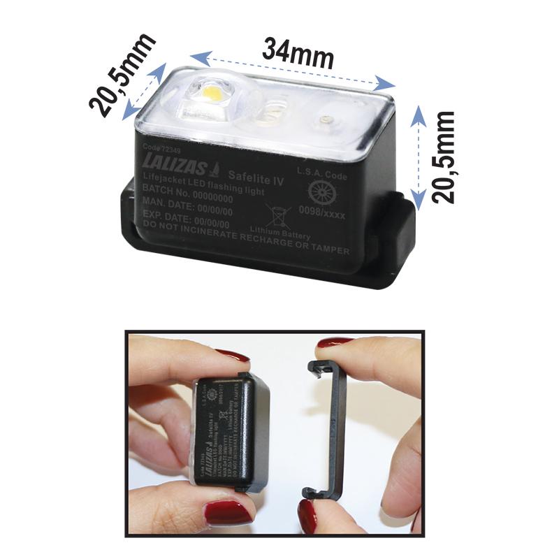 "LALIZAS Lifejacket LED flashing light ""Safelite  IV"" ON-OFF water activated, USCG, SOLAS/MED thumb image 2"