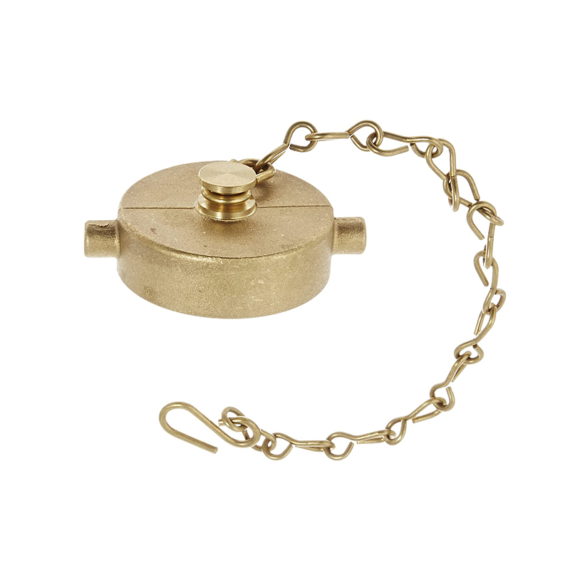 Fire Hose Cap With Chain 1.5'', Brass image